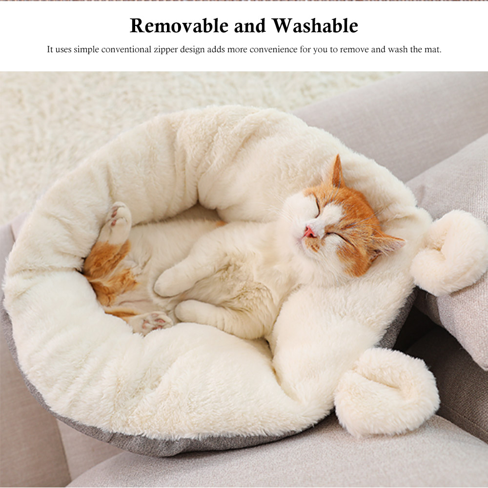 Removable and Washable Pets Sleeping Bags, Ear Shaped Cat Room with Embroidery Printing Design 4