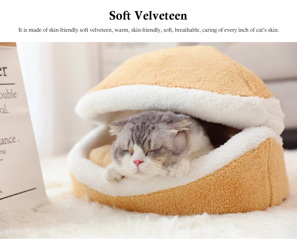 Hamburger Shape Cat House, with Soft Velveteen and PP Cotton Material, Skin-friendly Cat's Cattery 6