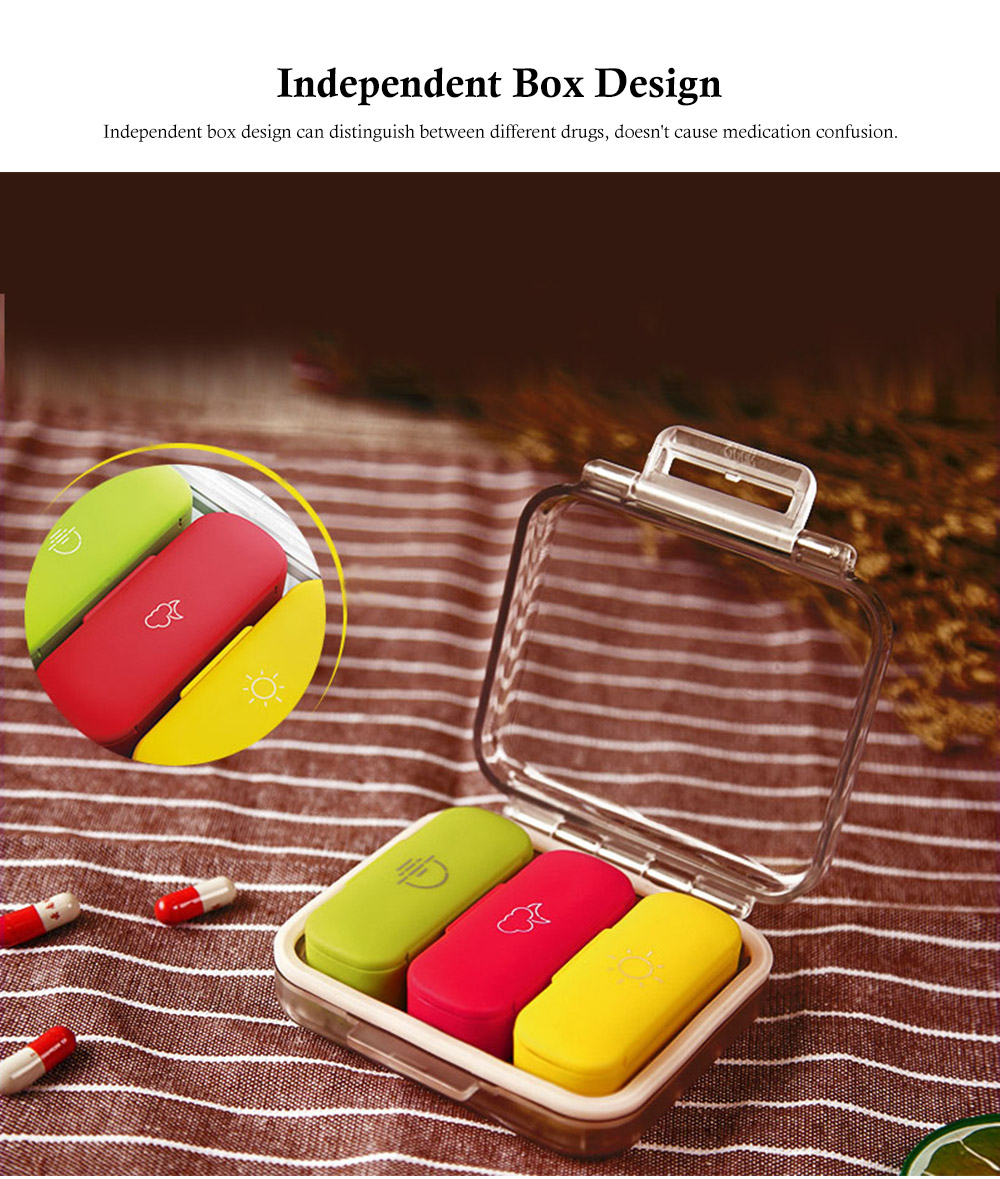 Daily Pill Organizer 3 Times A Day, With 3 Removable Inner Silicone Tablet Medicine Storage Box 4