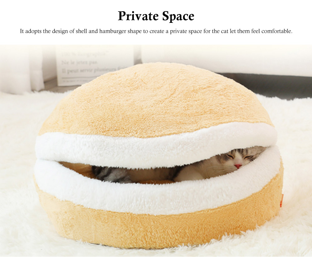 Hamburger Shape Cat House, with Soft Velveteen and PP Cotton Material, Skin-friendly Cat's Cattery 2