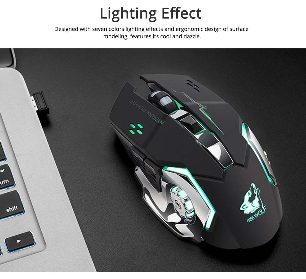 Wireless Mouse Lighting Effect 2.4GHZ Mouse with Three-speed DPI for Laptop Computer Notebook Noiseless Click Rechargeable Mouse 4