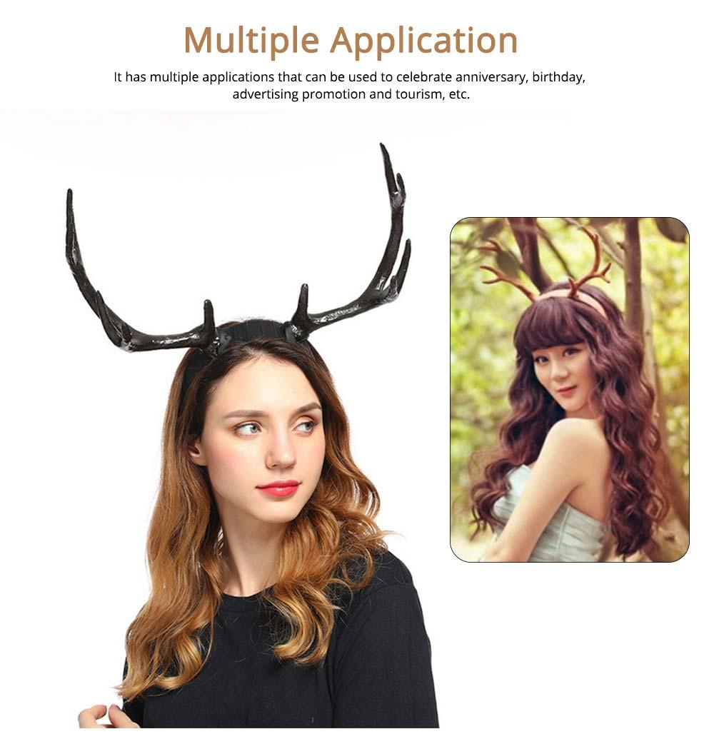 Elk Antlers Hair Band Head Hoop for Birthday Anniversary Cartoon Polyethylene Plastic Lovable Head-wear 5