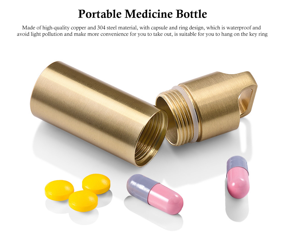 Portable Waterproof Medicine Bottle Holder Container for Outdoor Hiking Camping Travel 0