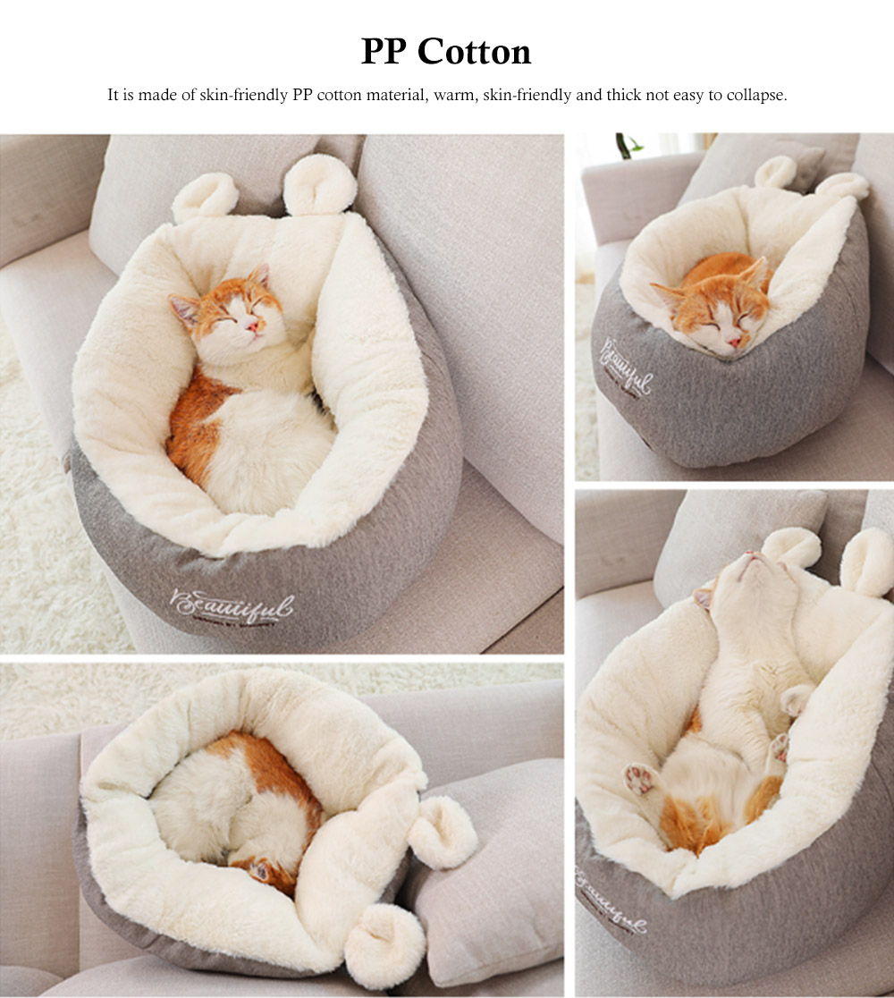 Removable and Washable Pets Sleeping Bags, Ear Shaped Cat Room with Embroidery Printing Design 5