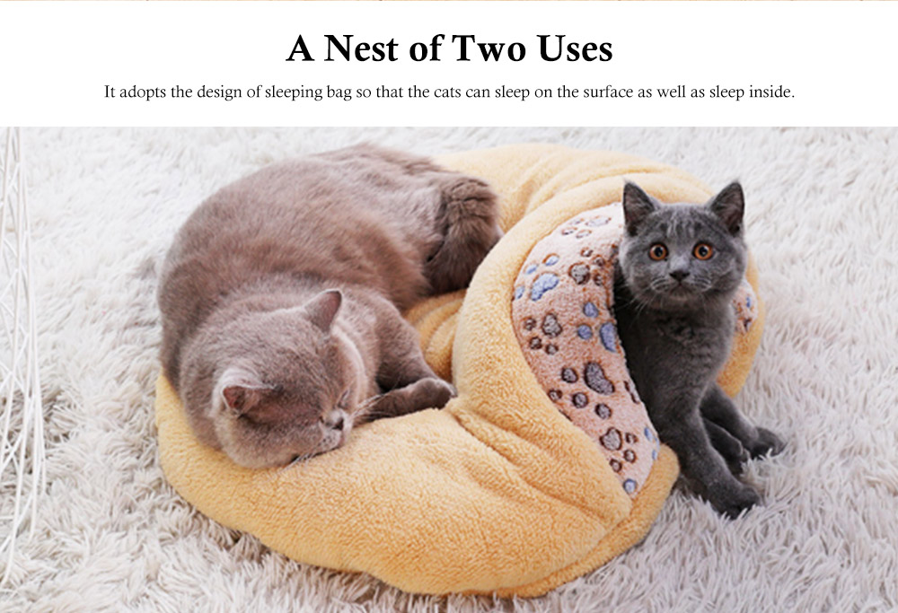 Brown Cat Sleeping Bag, with Soft Velveteen, Printed Coral Fleece, Three-dimensional PP Cotton, a Nest of Two Uses, Cat Mat 1