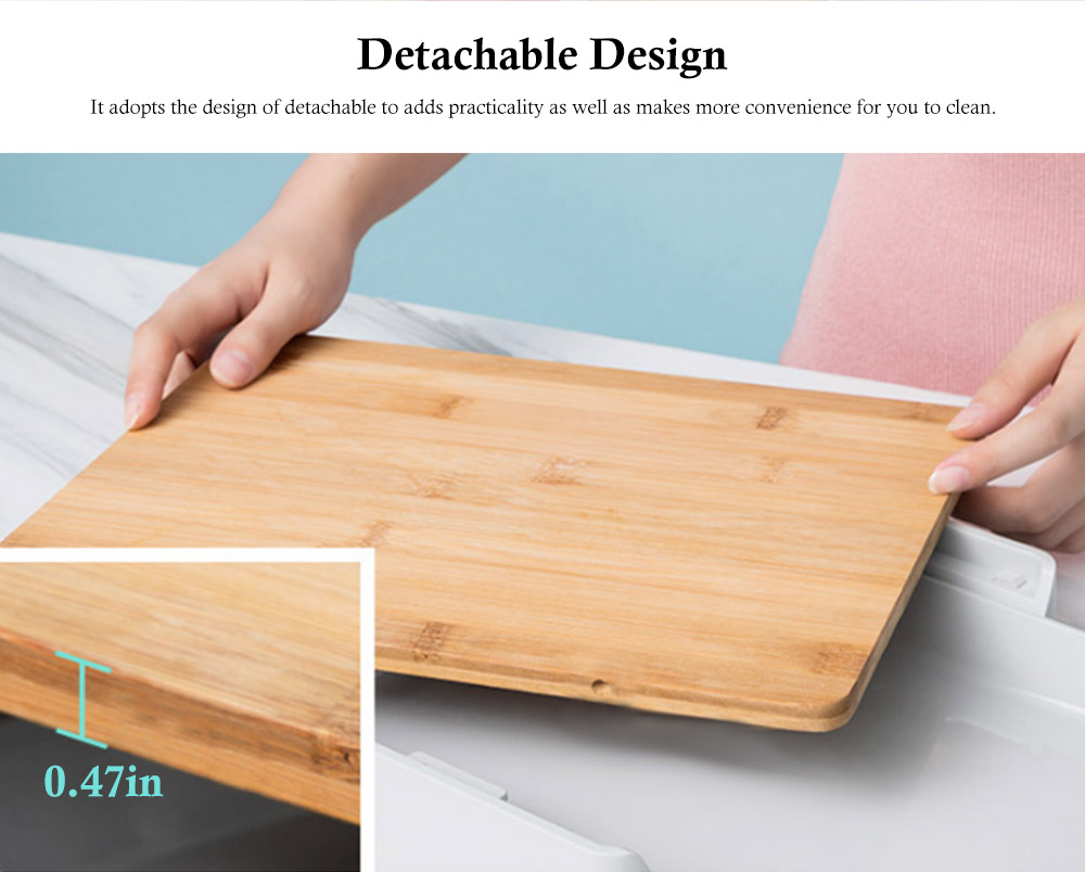 Pull-down Cutting Board, with Drawer Design, Food Grade ABS and Bamboo Material, Multifunctional Storage Board 1