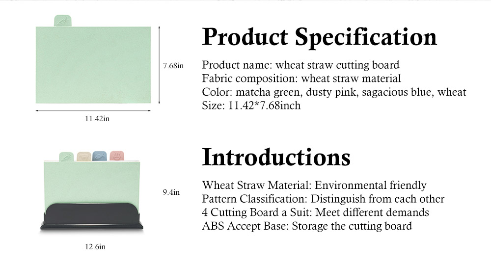 Environment Friendly Wheat Straw Cutting Board, 4 colors a Suit, with Small Cartoon Pattern Icon Design 7