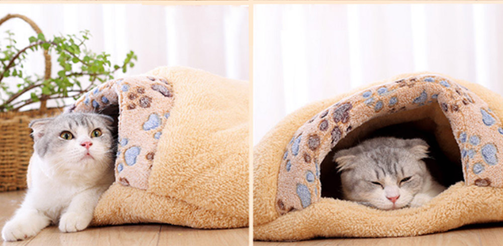 Brown Cat Sleeping Bag, with Soft Velveteen, Printed Coral Fleece, Three-dimensional PP Cotton, a Nest of Two Uses, Cat Mat 6