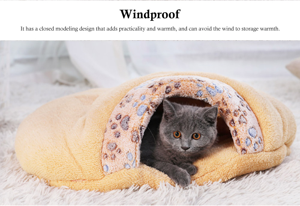 Brown Cat Sleeping Bag, with Soft Velveteen, Printed Coral Fleece, Three-dimensional PP Cotton, a Nest of Two Uses, Cat Mat 3