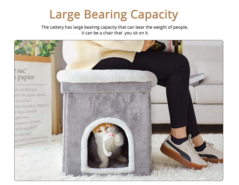 Cat House Fur Material Cube for Pet Cat Home with Attract Mouse, Folding Cattery Double Layers Cat Nest 1
