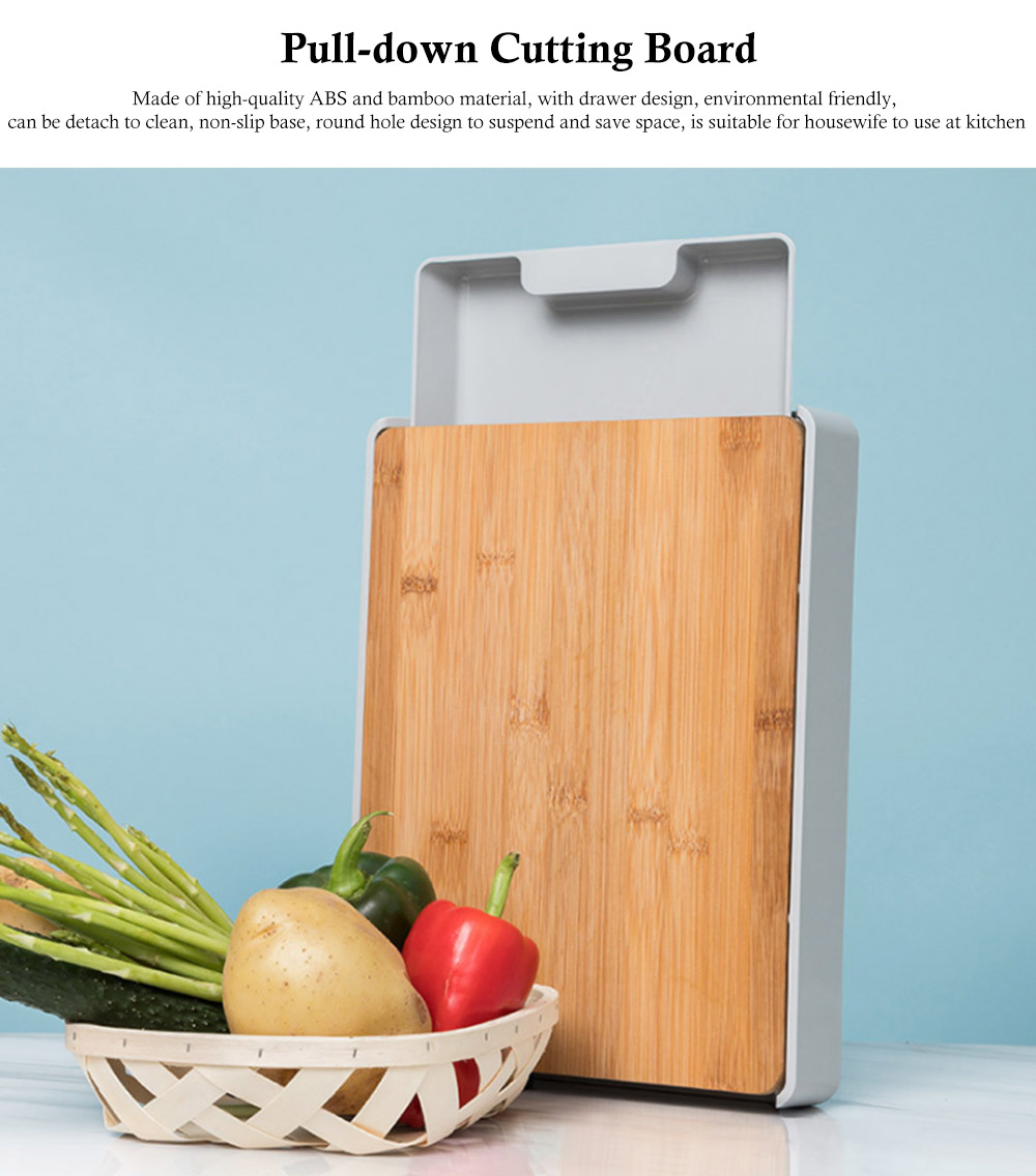 Pull-down Cutting Board, with Drawer Design, Food Grade ABS and Bamboo Material, Multifunctional Storage Board 0