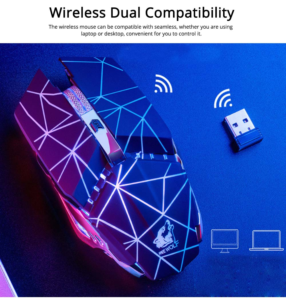 Wireless Mouse Silent Click Dual Compatibility with PC Desktop Notebook, Rechargeable 2.4GHZ Lighting Mouse 2