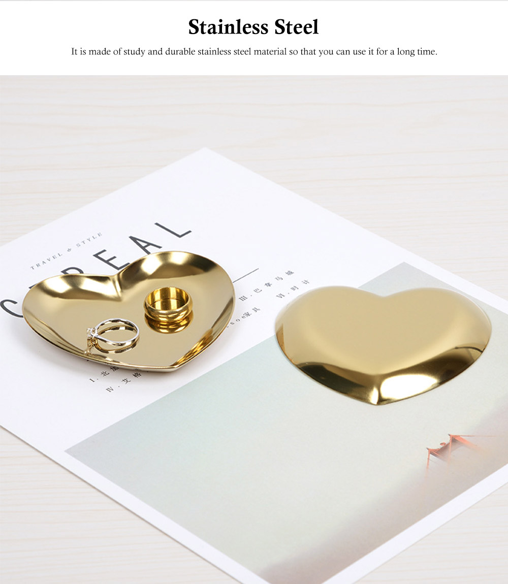 Stainless Steel Jewelry Display Tray, Heart-shaped Metal Jewelry Storage Tray 7