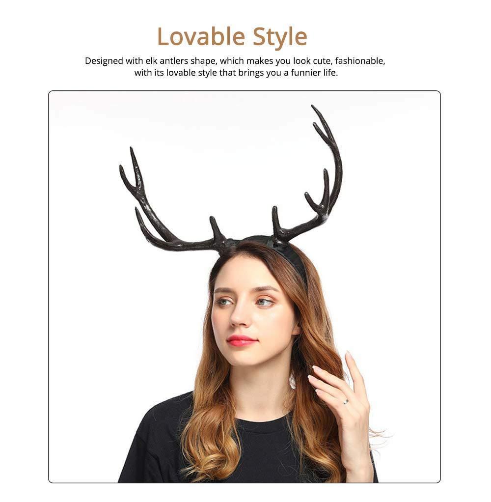 Elk Antlers Hair Band Head Hoop for Birthday Anniversary Cartoon Polyethylene Plastic Lovable Head-wear 3