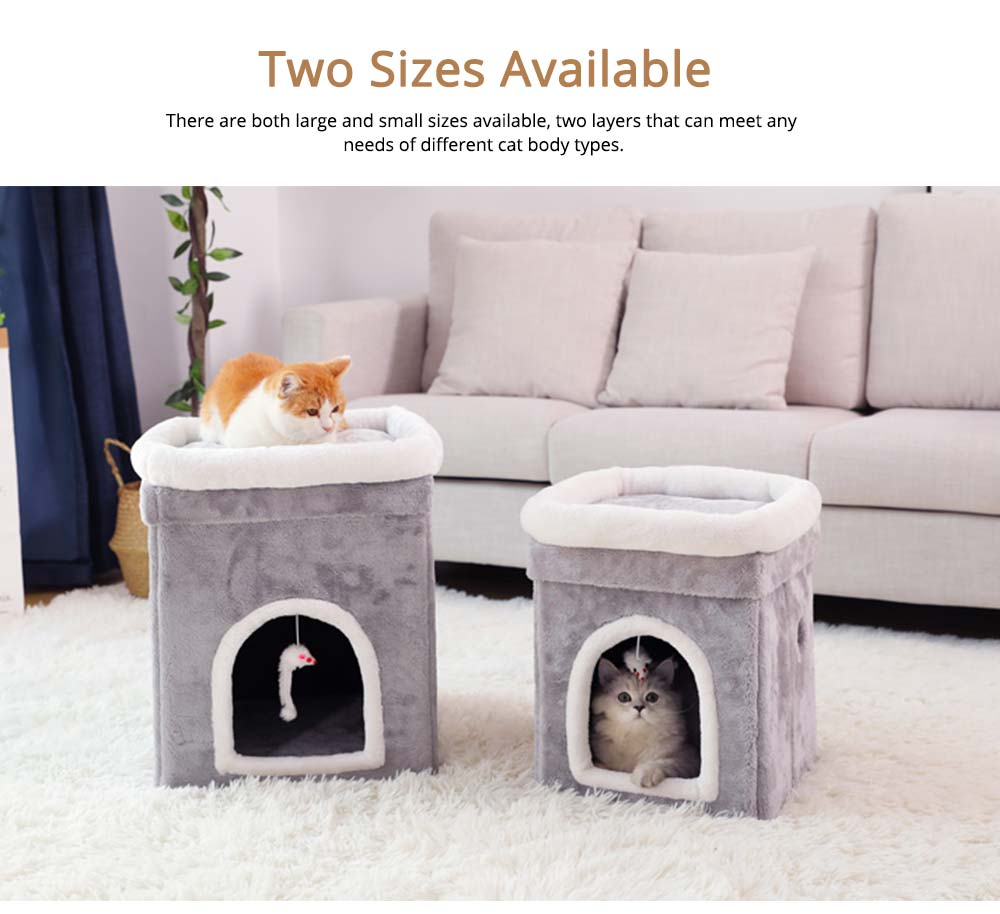 Cat House Fur Material Cube for Pet Cat Home with Attract Mouse, Folding Cattery Double Layers Cat Nest 5