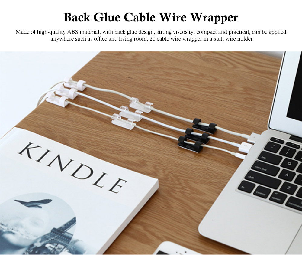 Back Glue Cable Wire Wrapper, ABS Strong Viscosity Practical Wire Holder 0