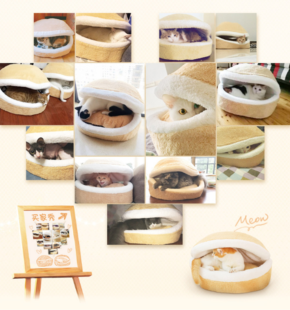 Hamburger Shape Cat House, with Soft Velveteen and PP Cotton Material, Skin-friendly Cat's Cattery 1