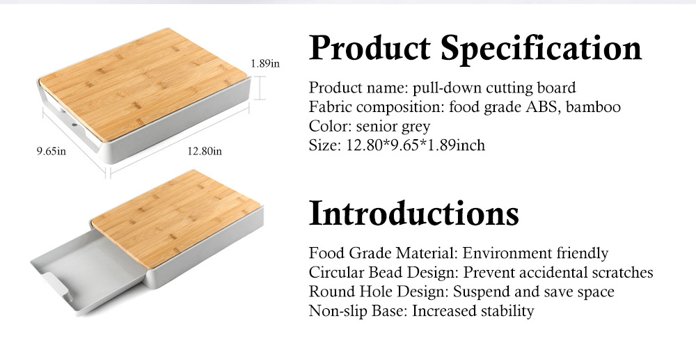 Pull-down Cutting Board, with Drawer Design, Food Grade ABS and Bamboo Material, Multifunctional Storage Board 6