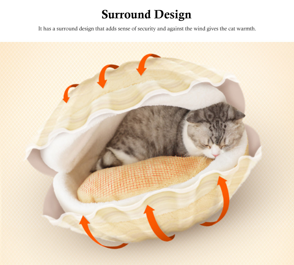 Hamburger Shape Cat House, with Soft Velveteen and PP Cotton Material, Skin-friendly Cat's Cattery 3