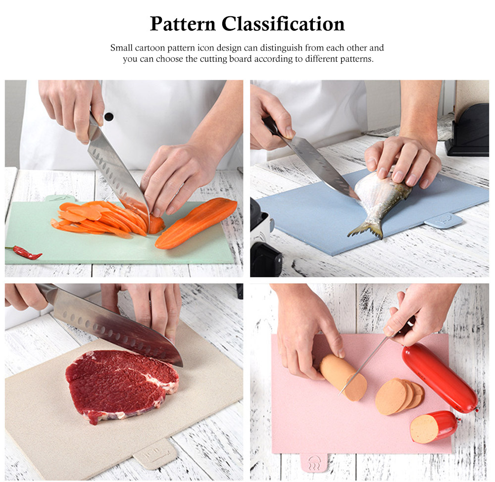 Environment Friendly Wheat Straw Cutting Board, 4 colors a Suit, with Small Cartoon Pattern Icon Design 3