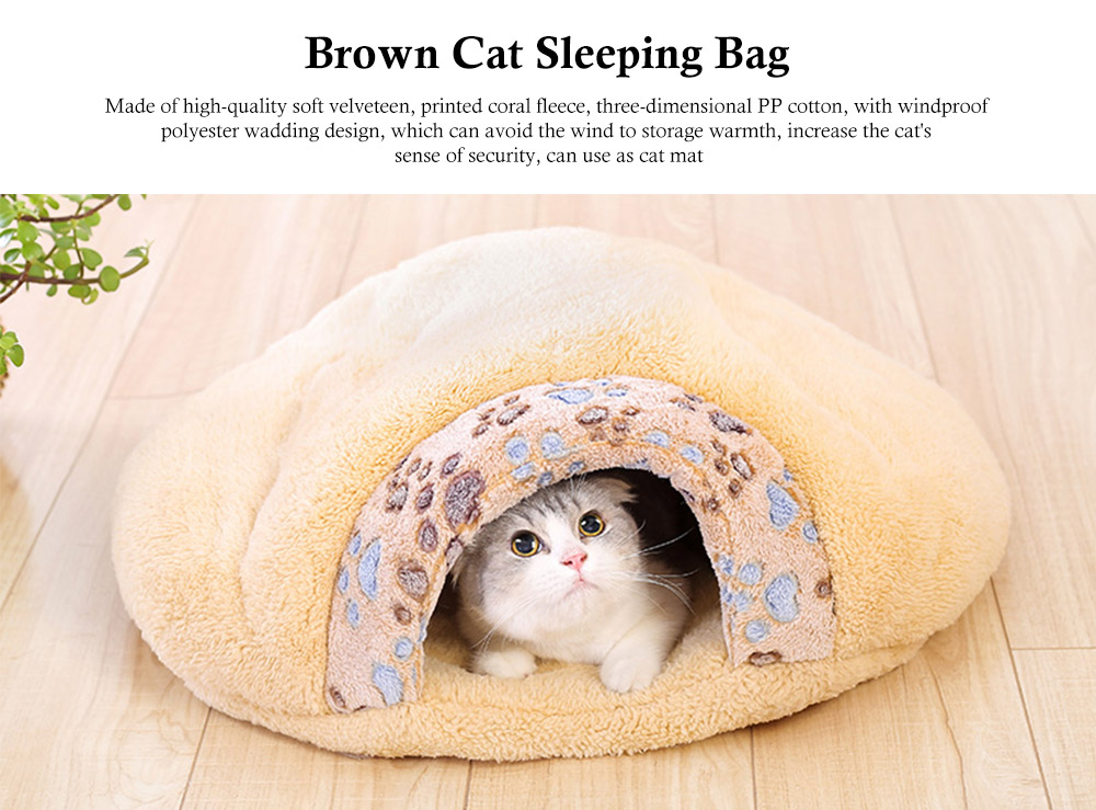 Brown Cat Sleeping Bag, with Soft Velveteen, Printed Coral Fleece, Three-dimensional PP Cotton, a Nest of Two Uses, Cat Mat 0