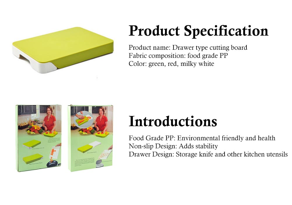 Drawer Type Cutting Board, Slide Out Kitchen Cutting Board With Study And Durable Food Grade PP Material 6