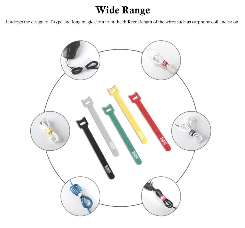 Releasable Nylon Cable Ties with Velcro Cloth Design, Self-Locking Nylon Cable Clip Organizer, 5 Colors, 40 Pcs 1