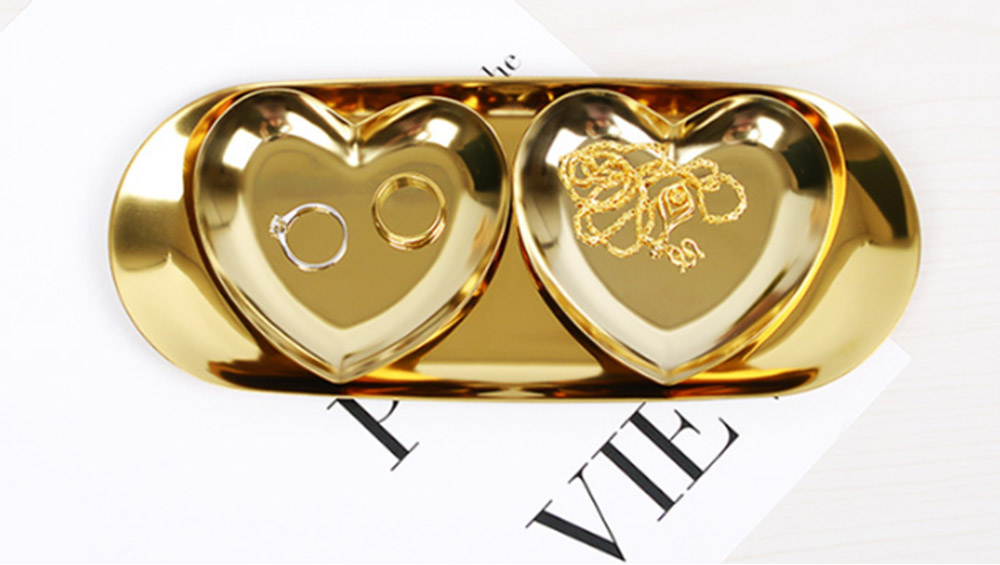 Stainless Steel Jewelry Display Tray, Heart-shaped Metal Jewelry Storage Tray 4