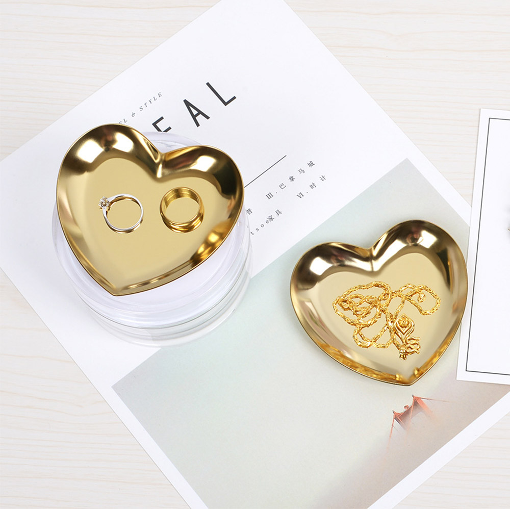 Stainless Steel Jewelry Display Tray, Heart-shaped Metal Jewelry Storage Tray 1