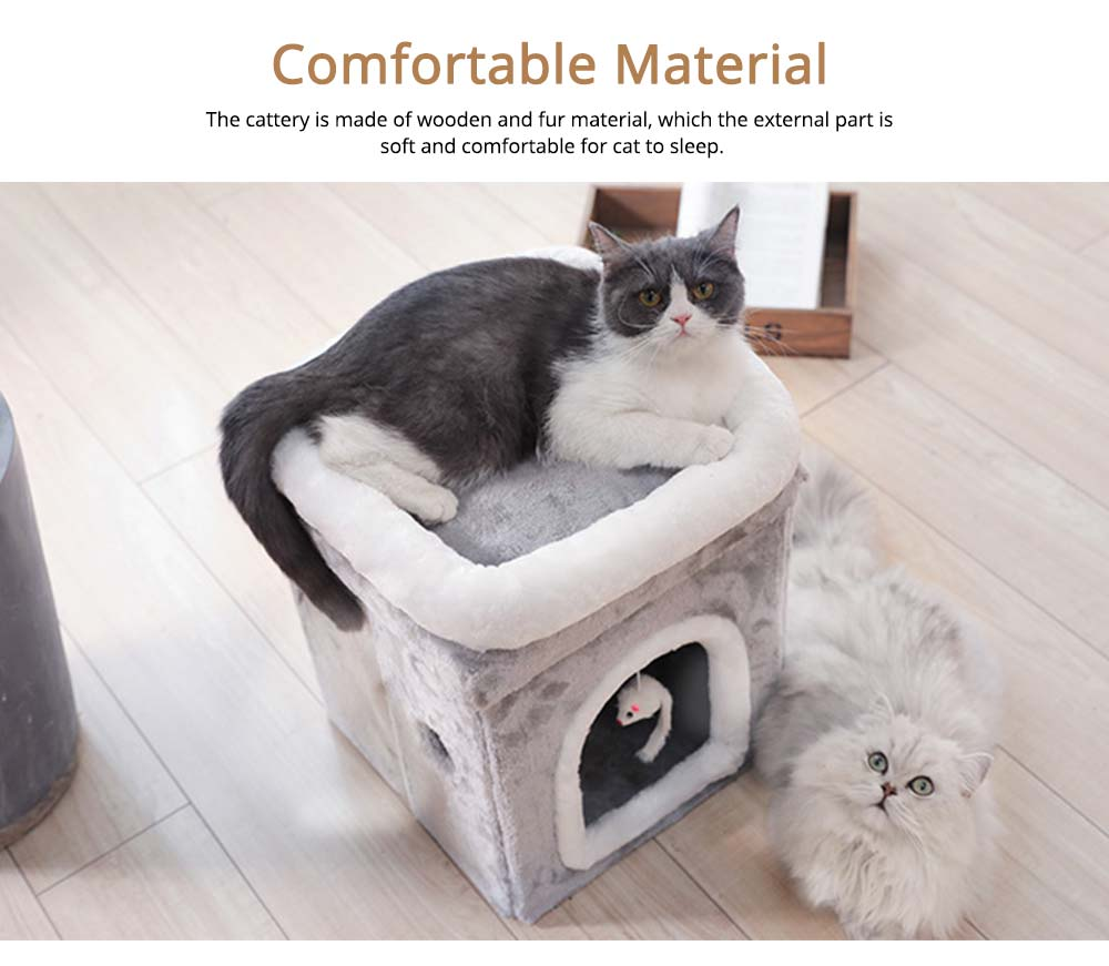 Cat House Fur Material Cube for Pet Cat Home with Attract Mouse, Folding Cattery Double Layers Cat Nest 2