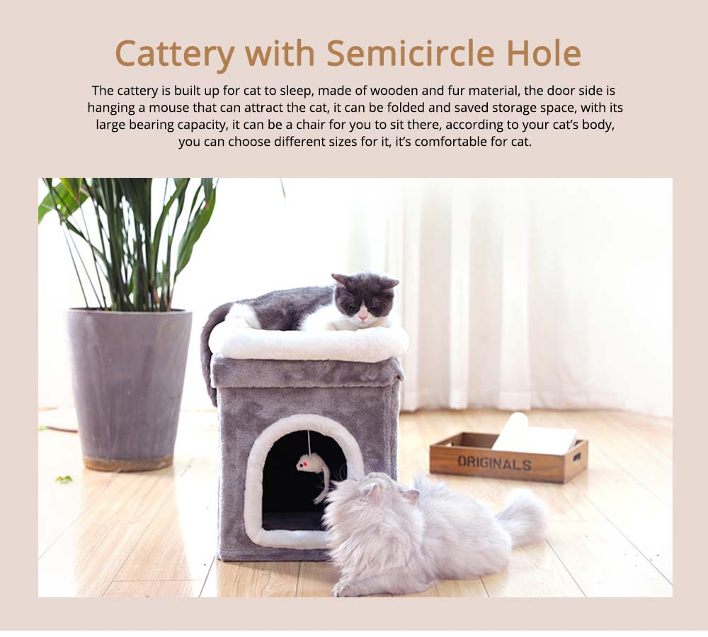 Cat House Fur Material Cube for Pet Cat Home with Attract Mouse, Folding Cattery Double Layers Cat Nest 0