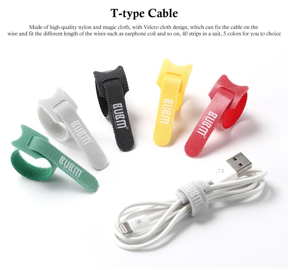 Releasable Nylon Cable Ties with Velcro Cloth Design, Self-Locking Nylon Cable Clip Organizer, 5 Colors, 40 Pcs 0