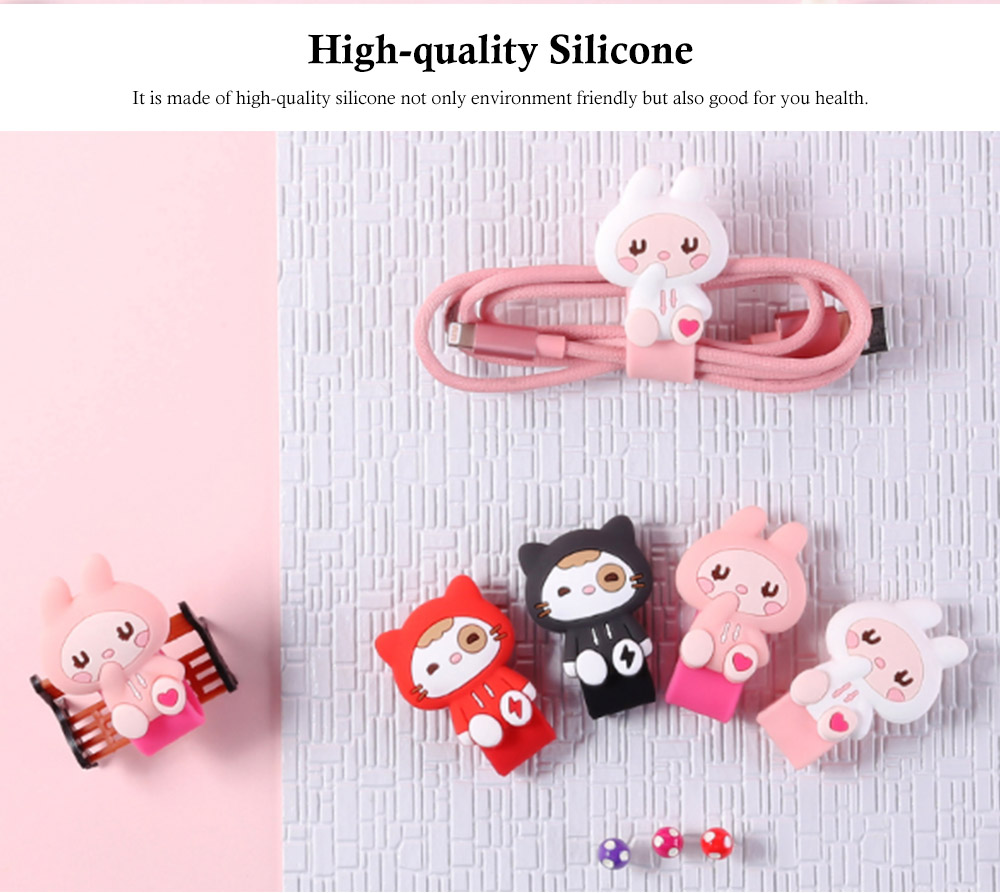 Cute Earphone Cable Protector, Lovely Cartoon Shape Winder, with Metal Hidden-interlocking 6