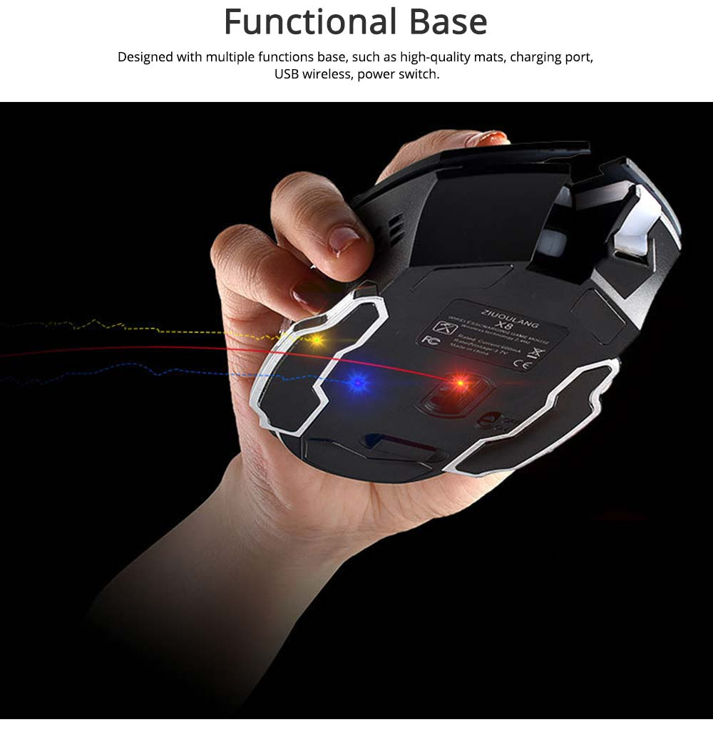 Wireless Mouse Lighting Effect 2.4GHZ Mouse with Three-speed DPI for Laptop Computer Notebook Noiseless Click Rechargeable Mouse 2