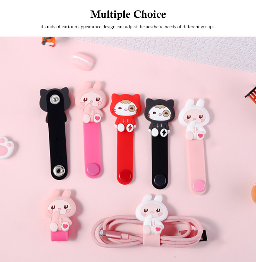 Cute Earphone Cable Protector, Lovely Cartoon Shape Winder, with Metal Hidden-interlocking 4