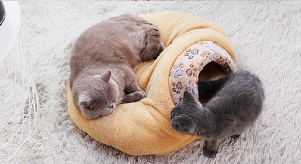 Brown Cat Sleeping Bag, with Soft Velveteen, Printed Coral Fleece, Three-dimensional PP Cotton, a Nest of Two Uses, Cat Mat 2