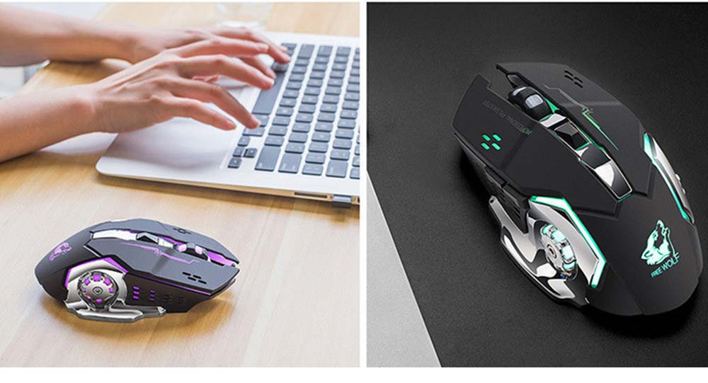 Wireless Mouse Lighting Effect 2.4GHZ Mouse with Three-speed DPI for Laptop Computer Notebook Noiseless Click Rechargeable Mouse 6