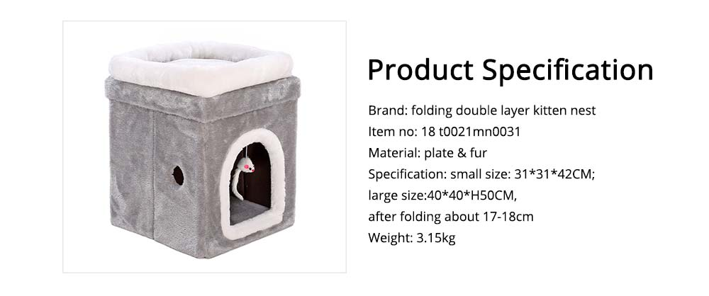Cat House Fur Material Cube for Pet Cat Home with Attract Mouse, Folding Cattery Double Layers Cat Nest 6