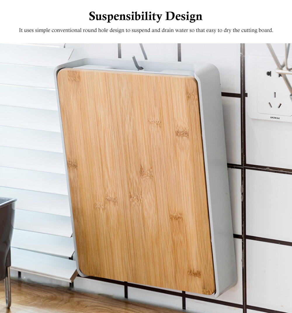 Pull-down Cutting Board, with Drawer Design, Food Grade ABS and Bamboo Material, Multifunctional Storage Board 4