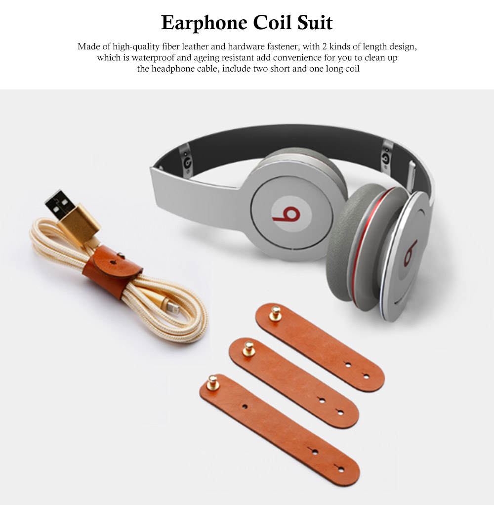 Leather Cable Organizer Wrap for Headphone, 3 Pcs Universal Coil Winder Line Buckles Cord Management Holder 0