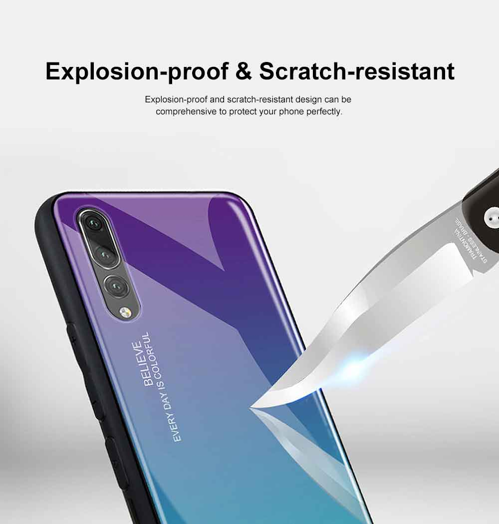 Gradient Phone Case for Huawei Nova 4, P20 Pro, P20 Lite, Explosion-proof and Scratch-resistant Case Cover with Toughened Glass and High-quality TPU 3