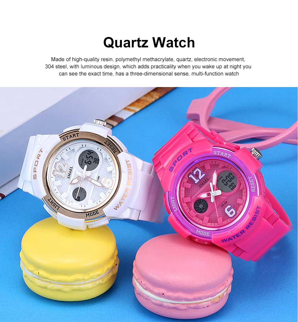 Multi-Functional Quartz Watch for Girls, Cool Hip Hop Electronic Sport Watch 0