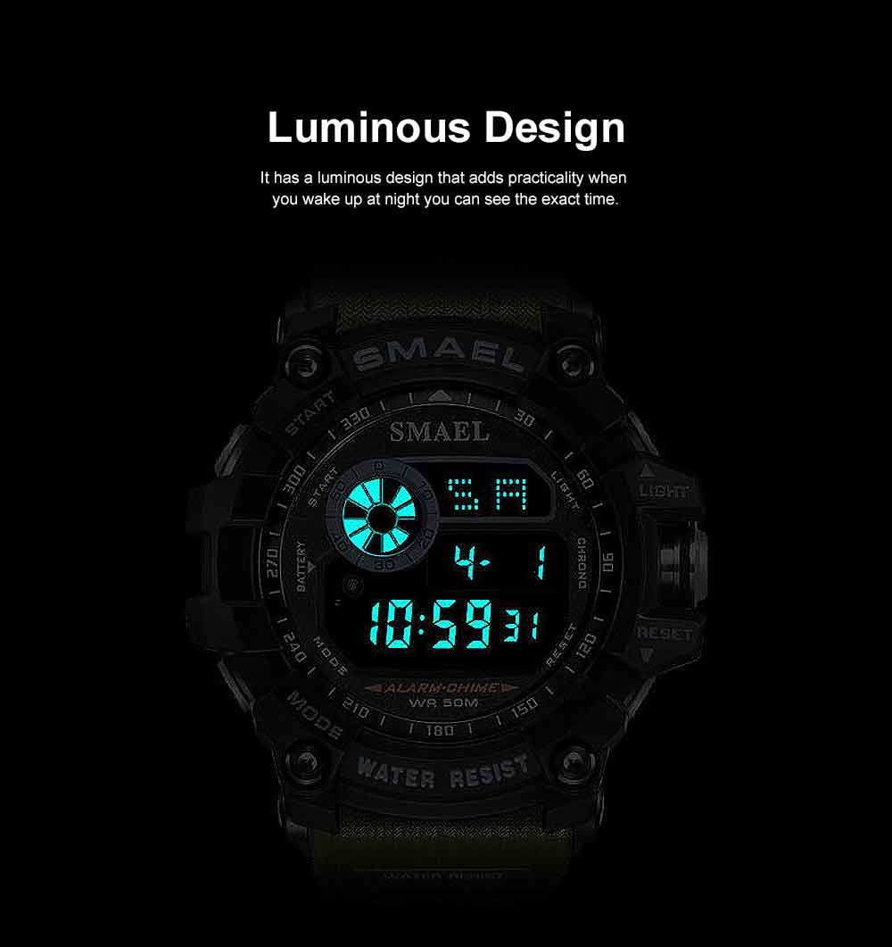 Men's Digital Sports Watch, with Resin, Polymethyl Methacrylate, Quartz, Electronic Movement 5