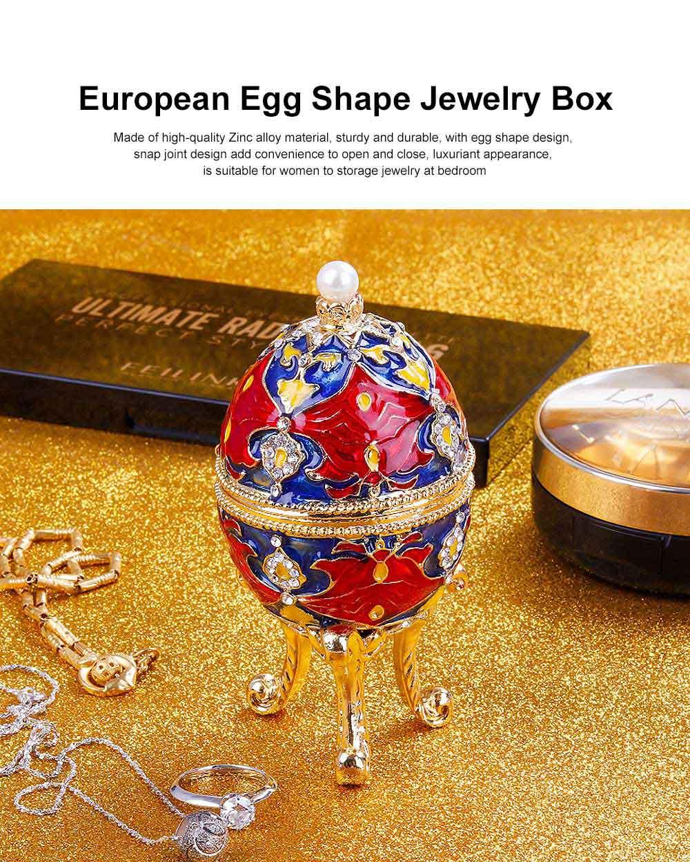 European Egg Shape Jewelry Box, Luxuriant Colored Enamel Trinket Keepsake Storage Box Collection Holder 0