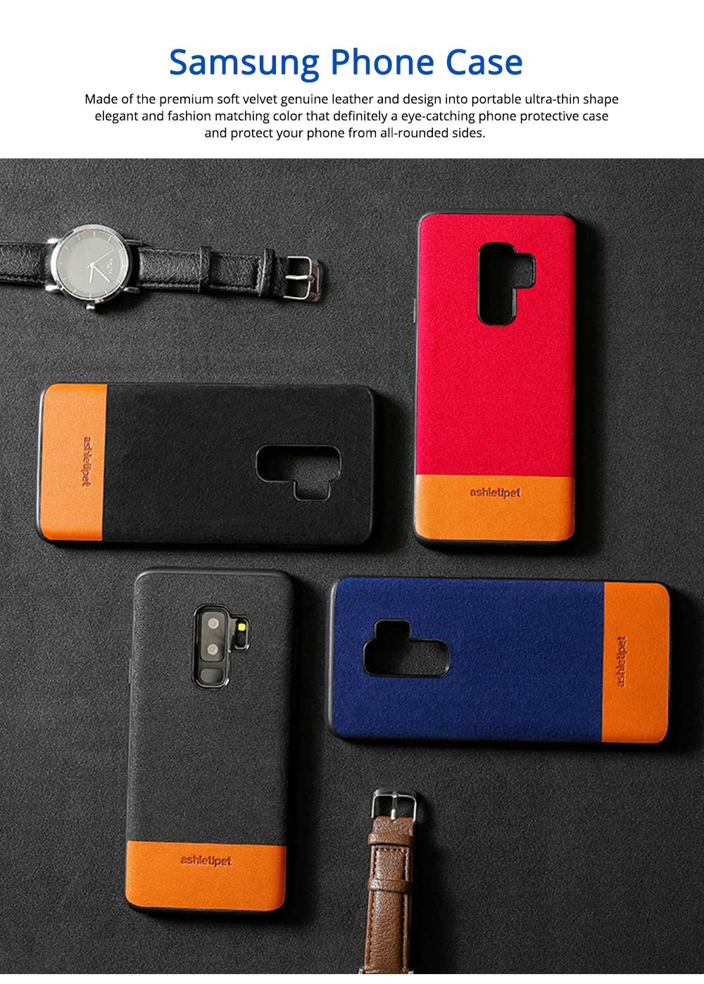 Samsung Genuine Leather Case, Creative Color Matching Elegant Phone Protective Case for Samsung note8, S7 edge, S9 0