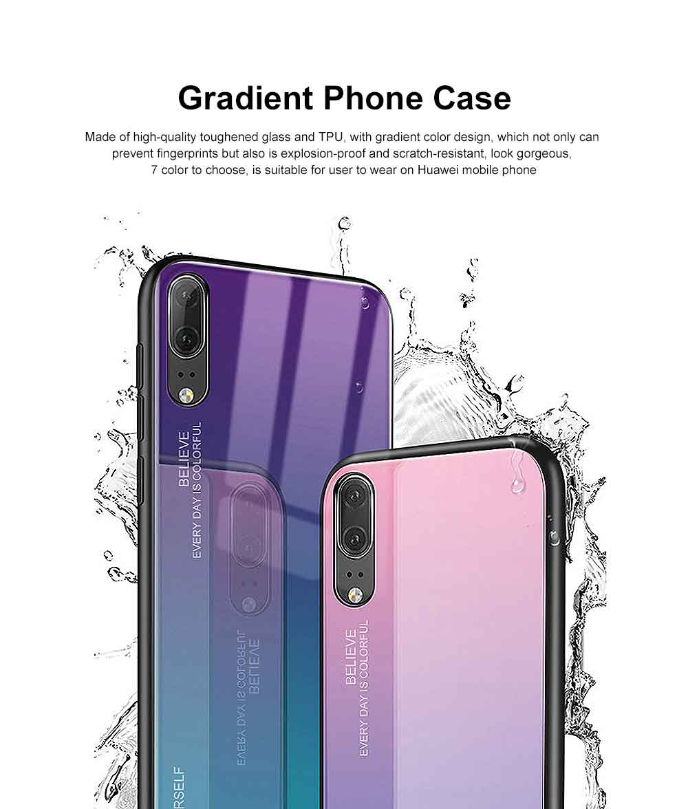 Gradient Phone Case for Huawei Nova 4, P20 Pro, P20 Lite, Explosion-proof and Scratch-resistant Case Cover with Toughened Glass and High-quality TPU 15