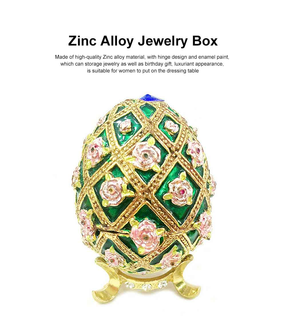 Zinc Alloy Jewelry Box with Egg Shape, Luxuriant Birthday Gift Box with Rich Enamel and Sparkling Rhinestones 0