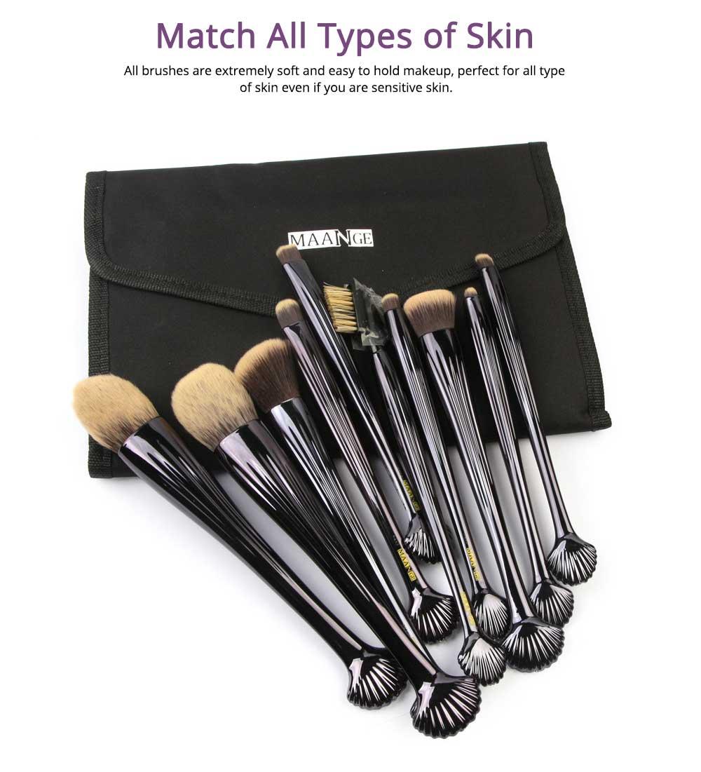 Shell Makeup Brush Set 10 Pieces, Make Up Foundation Eyebrow Eyeliner Blush Cosmetic Concealer Brushes with Nylon Crease Kit 2