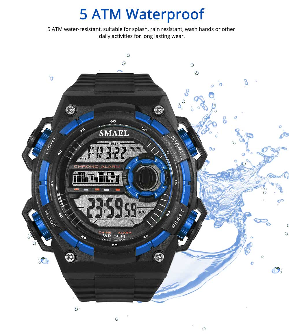 Outdoor Sports Watch, Waterproof Shockproof Stainless Steel Single Display Electronic Watches for Student Boy Men 5
