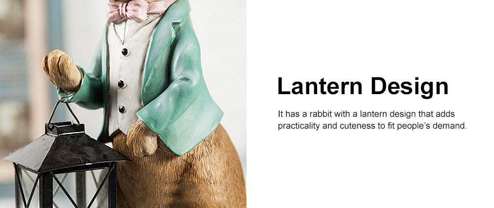 Hand-painted Easter Bunny Lantern, Resin Boy Rabbit Lantern 2